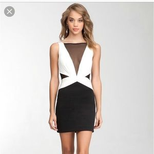 Bebe black and white mesh v-neck dress